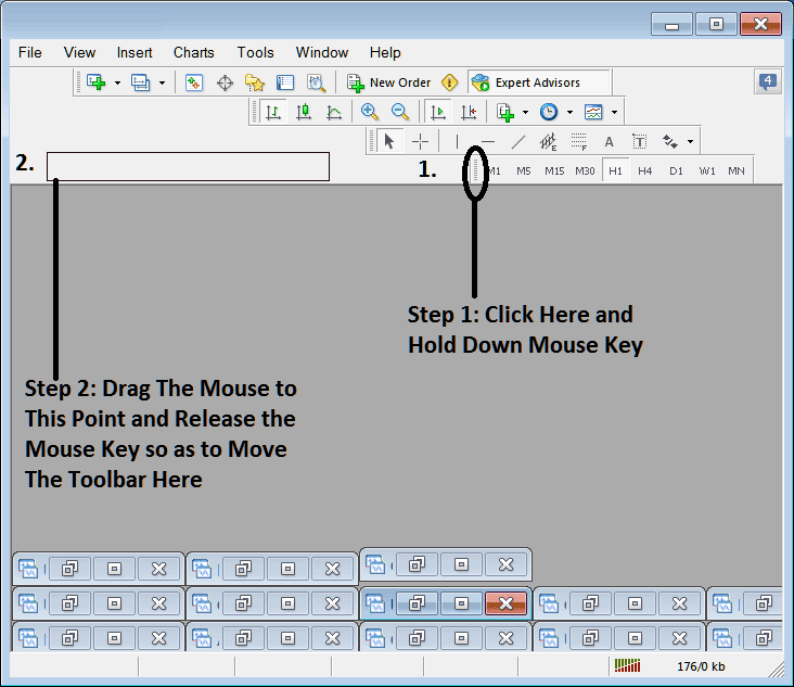 How to Move a Chart Toolbar in MetaTrader 4 Stock Trading Platform