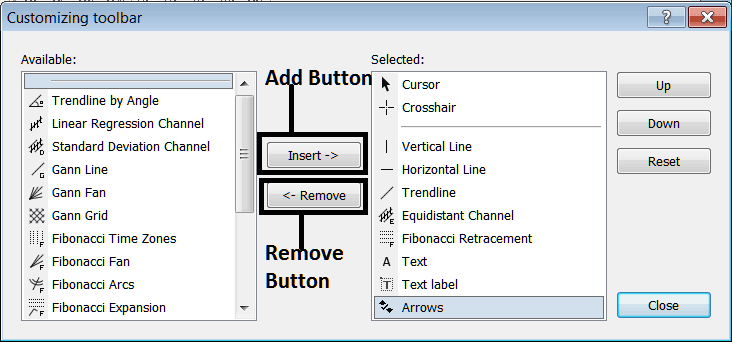 Customizing Toolbars in MetaTrader 4 - Adding and Removing Toolbar Buttons