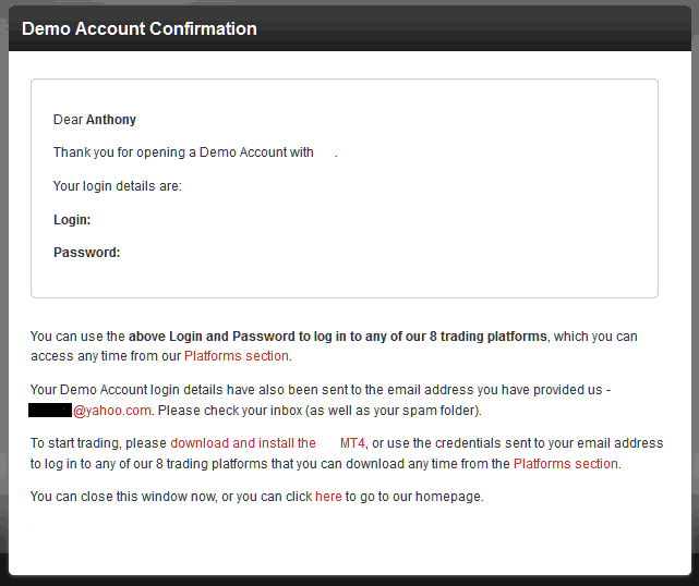 Demo Account Registration Confirmation From Stock Trading Broker - MetaTrader 4 Demo Account Sign up